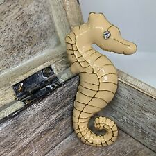 Large Enamel Seahorse Brooch Pin 7x3.5cm Gold Tone Nude Beige