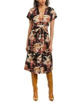 Current/Elliot The Retro Linen Bamboo Floral Midi Dress 1 small Nwt New Womens