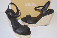 291aea84a7434 Michael Kors Jill Woven Rope Jute Wedge Black Leather Sandal Platform