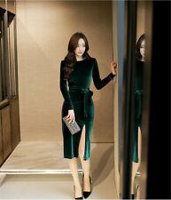 Green velvet long sleeve dress