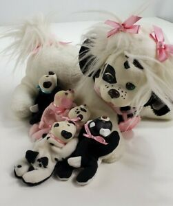 "Vintage Hasbro Puppy Surprise Plush Dog 5 Baby Puppies Black White 13"" 1991"