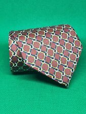 """Brooks brothers 346 silk neck tie red w/ chainmail rings 3 1/4"""" × 58"""""""