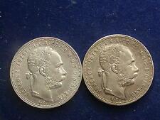 "2 Stk Gulden ( Forint ) 1881 KB  Franz Joseph "" Variante Wappen  "" W/16/129"