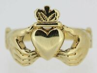 9ct Gold Ring - 9ct Yellow Gold Claddagh Ring Size W