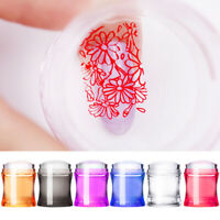 Clear Nail Art Jelly Silicone Stamper Head With Clear Cap Nails Scraper Salon