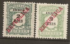 1911 Portuguese India Portugal 'Porteado'(postage due) AF#s 12&13 MH