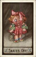 Little Girl Gets Bloody Nose From Roller Skating KUTE KIDDIES Postcard