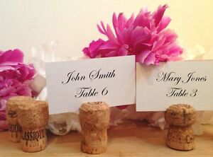 100 Handmade Champagne Cork Place Card Holders for Wedding, Party, Wine Event
