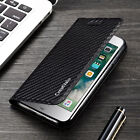Magnetic Carbon Leather Flip Wallet Case Cover for Apple iPhone X 8 Plus 7 6s 5S