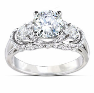 Three Stone Round Cut Rhodium Plated Silver Engagement Ring Promise Ring