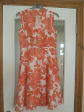 Adrianna Papell Salmon Pink And White Summer Dress Size 10