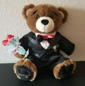 "Build a Bear Workshop Bearemy Bear w/ Tuxedo + Roses Plush 15"" BABW Cute"