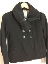 Anthropologie TULLE Womens coat Size M black Double Breasted Jacket