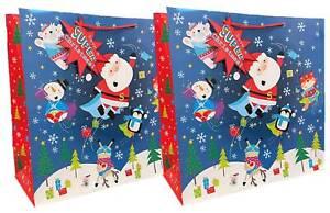 "Set of 2 Square Midi Jumbo Bags 16.75"" x 16.75"" - Superhero Santa & Friends"