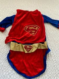 Rubies Superman Pet Costume Large Dog New Velvet Rhinestone Logo Cape NIP