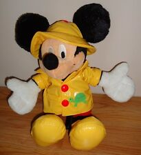"Disney RAINSHOP MICKEY MOUSE 13"" stuffed Plush w/raincoat,hat & Rain boots"