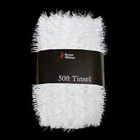 White Tinsel Xmas Decorations 50 Foot Extra Long Pack Christmas Home Festive NEW