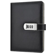 A5 Black Faux Leather Universal Lined Journal with Password Lock Gift for Boys