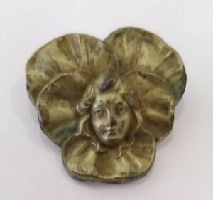 RARE Antique Victorian Brass Ladies head Button