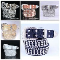 Stylish Leather Bling Rhinestone Crystal Western Cowgirl Belt Waistband Women's