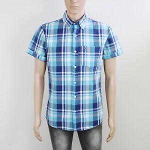 Hollister Mens Size M L Blue Check Short Sleeve Shirt
