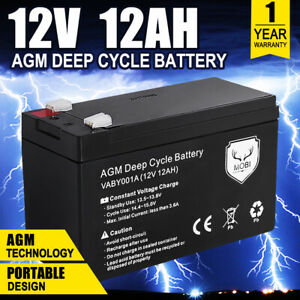 12V 12AH AMP Hour Battery AGM SLA Deep Cycle Fridge Dual Solar Power 12 Volt