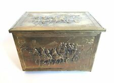 Vintage 20th Century Brass Stagecoach Repousse Kindling Box