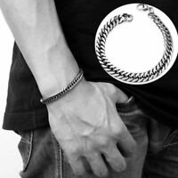 Fashion Silver Stainless Steel Link Chain Bracelet Wristband Bangle Men Jewelry