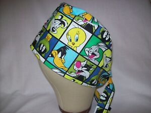 Men/Women Surgical Scrub Cap Lined Looney Tunes Characters 100% Cotton Cool Cap