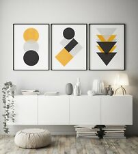 Set of 3 Yellow Black Grey Abstract Textured Home Poster Print Decor Wall Art