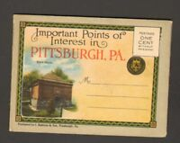 Undated Unused Miniature Foldout Postcard Points of Interest Pittsburgh PA