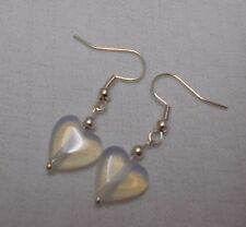 Unique handmade opalite hearts simple silver plated earrings + stoppers
