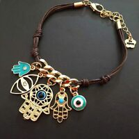 String Knit Link Hand Of Fatima Hamsa Bracelet Evil Eye Multiple Pendant