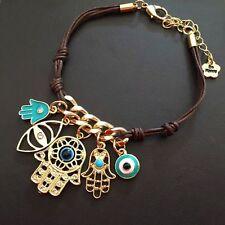 String Knit Link Hand of Fatima Hamsa Bracelet Evil Eye Multiple Pendant