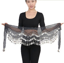 Professional 128 Silver Coins Belly Dance Dancing Hip Scarf Costume Belt Black