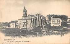 Fuenterrabia Spain view of church and palace of Carlos V antique pc Z17994