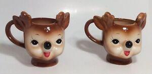New Pottery Barn Holiday Christmas Anthropomorphic Cheeky Reindeer Mugs (2)