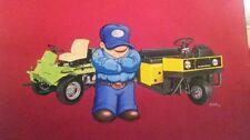 original CUSHMAN GOLF CART & LAWN MOWER advertising ART PAINTING by BOSAK 1988