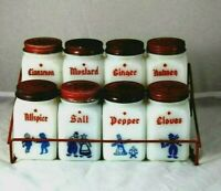 REDUCED VINTAGE SET OF 8 MILK GLASs DUTCH THEME SPICE JARS, SHAKERS  + RED RACK