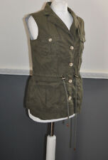 Tommy Hilfiger Ladies Khaki Sleeveless Jacket Military Button Down UK 8 Pockets