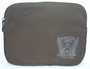 Vintage Fossil Brand 1954-1955 Brown Laptop Sleeve Zipper Case Leather Polyester