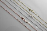 Solid 14k Gold Singapore rope chain Necklace Made in Italy All lengths