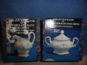 Mfg Premiere fine china Japan blue flowers silver trim Glen Ellyn J9059 Sugar Bowl /& Creamer set