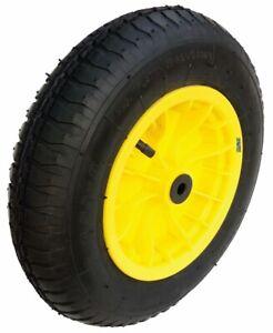 "Wheelbarrow / Launching Trolley Wheel Pneumatic 14"" Tyre 3.50 - 8 Yellow NEW"