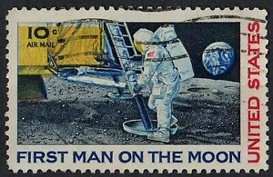 US 1969 FIRST MAN on the MOON Space Cosmos Air Mail 10 Cent STAMP