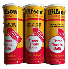 Vintage Nos Lot 3 Cans Sealed Wilson Championship Optic Yellow Tennis Balls Usa