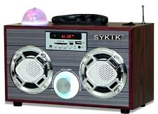 Sykik SP2021BT Bluetooth Boombox w/ SD USB Slots Disco Light FM Radio & Colored