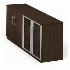 Mayline Medina Low Wall Cabinet with Doors (Wood-Glass Door) in Mocha