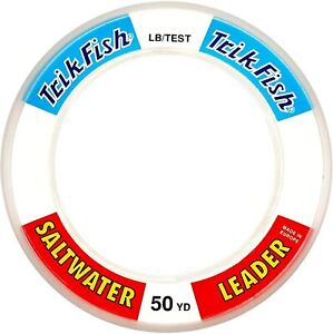 40lb TRIK FISH 50 YARD SALT WATER LEADER LINE WRIST SPOOL CLEAR 40 lbs 50 yds