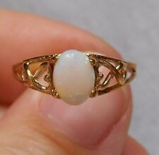Estate~Genuine Opal 10K Yellow Gold Heart Accent Ring Size 7.5